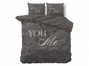 POŚCIEL PURE COTTON  - Love for you and me Anthracite 220x240